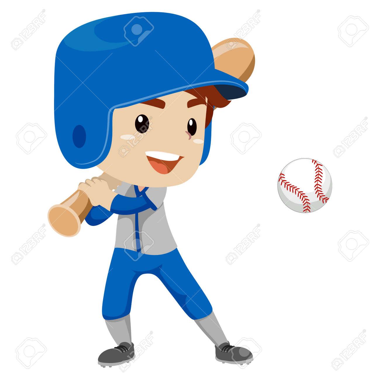 vector illustration of baseball player kid boy hit the ball royalty rh 123rf com Baseball Silhouette Vector Baseball Laces Vector