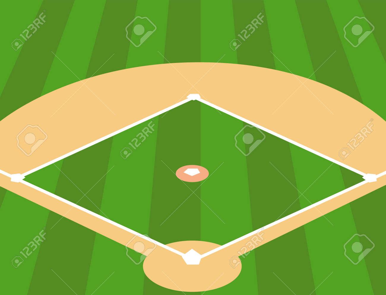 Vector Illustration of Baseball Field as Background - 60249812