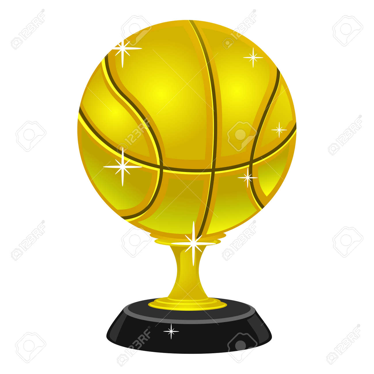 Vector Illustration Of Gold Basketball Trophy Royalty Free Cliparts