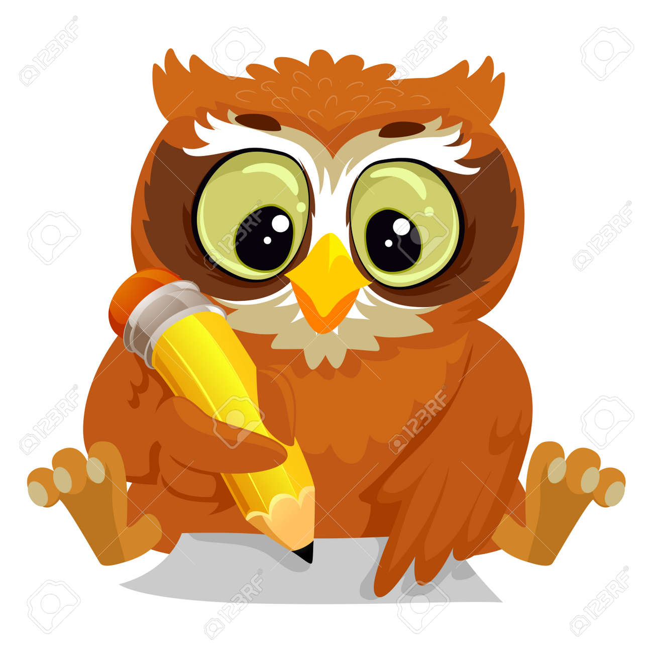 vector illustration of an owl writing on a blank paper royalty free rh 123rf com Writing Clip Art Girl Writing Clip Art