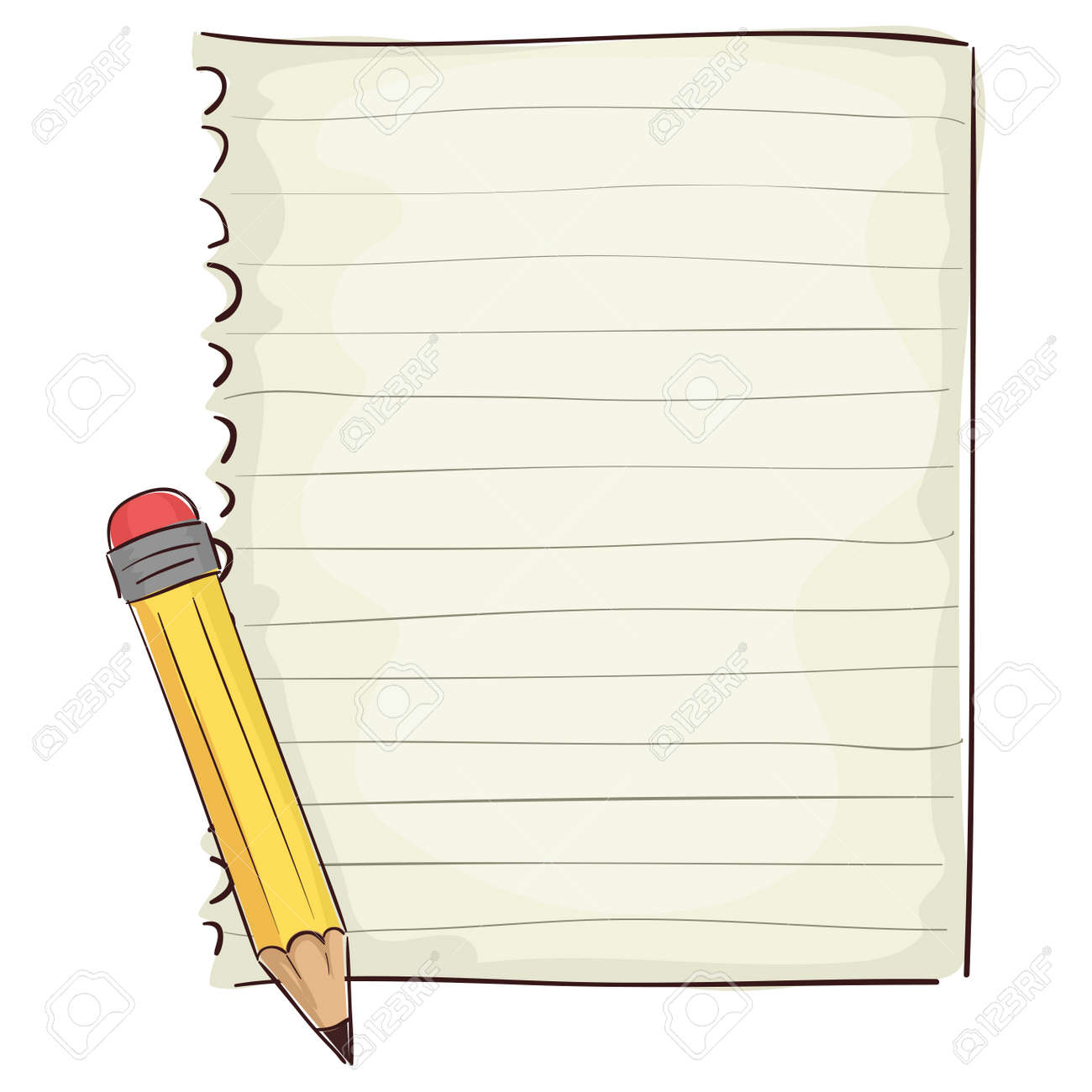 Vector Illustration of Blank Piece of Paper and Pencil - 70277247