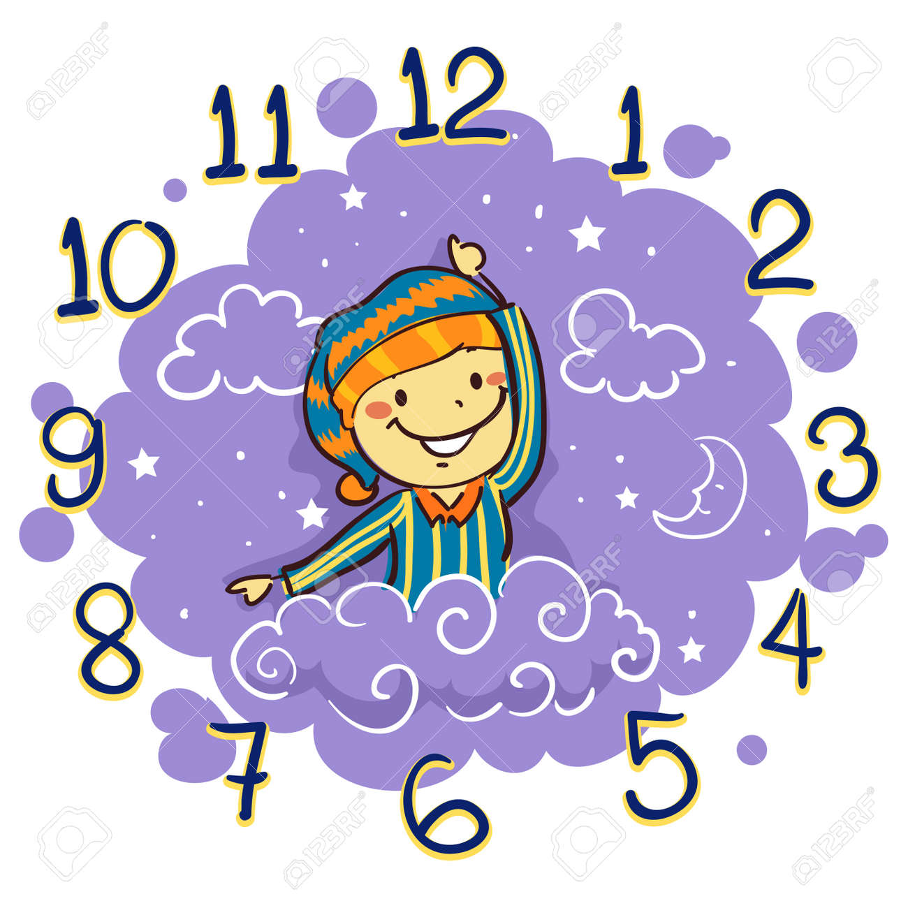 vector illustration of kid using his arm as hand clock for bedtime rh 123rf com bedtime stories clipart clipart bedtime story
