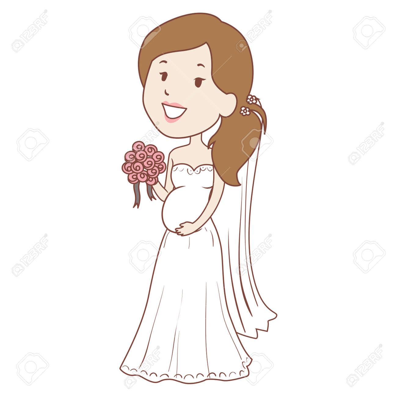 36f738533 Foto de archivo - Ilustración vectorial de la novia embarazada sosteniendo  ramo de flores