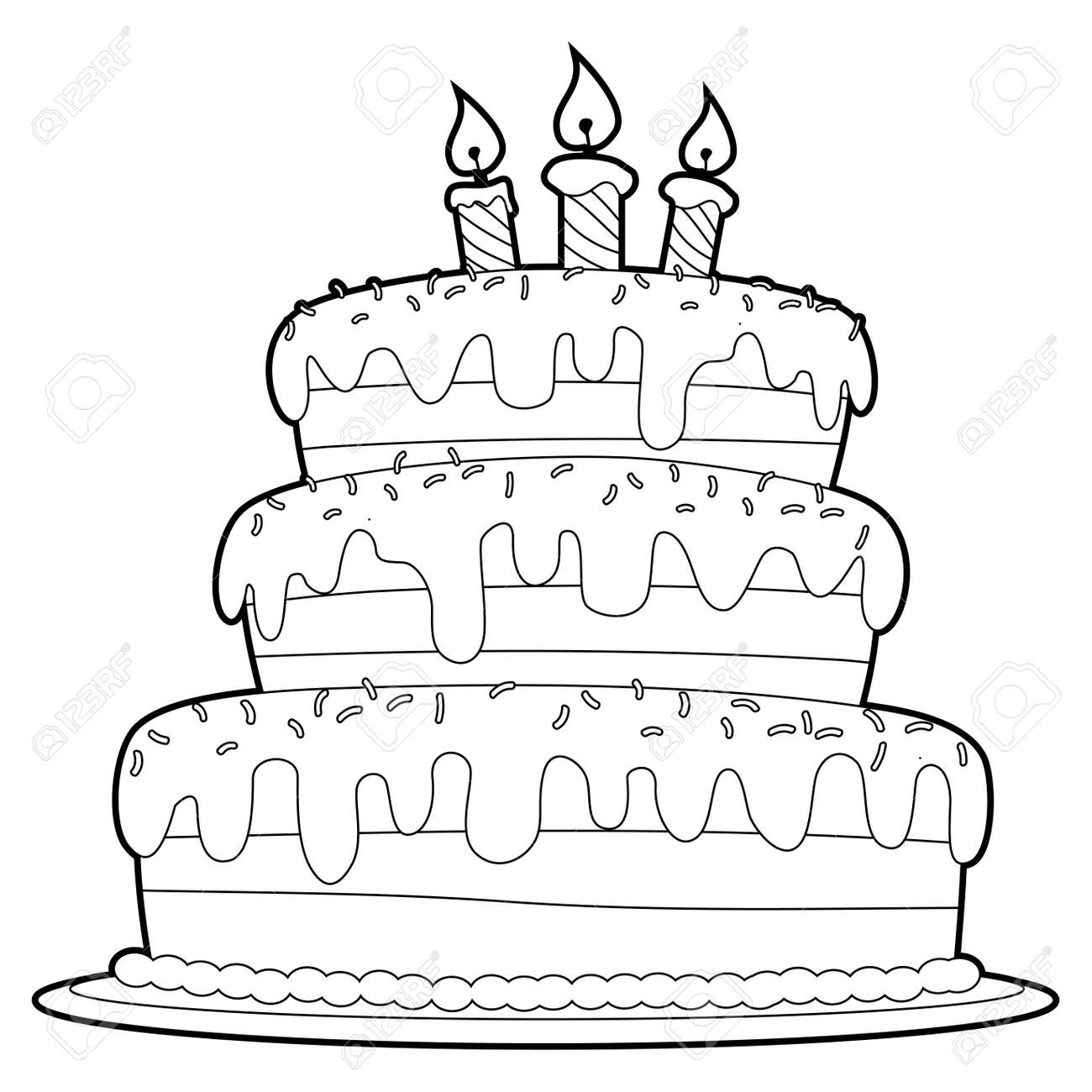 Coloring Book Outlined Three Layer Cake Royalty Free Cliparts ...