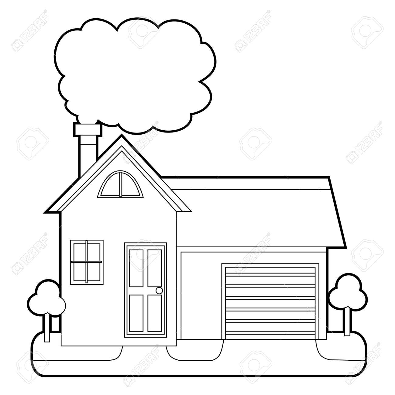 Coloring Book Outlined House With Chimney Smoke Royalty Free ...