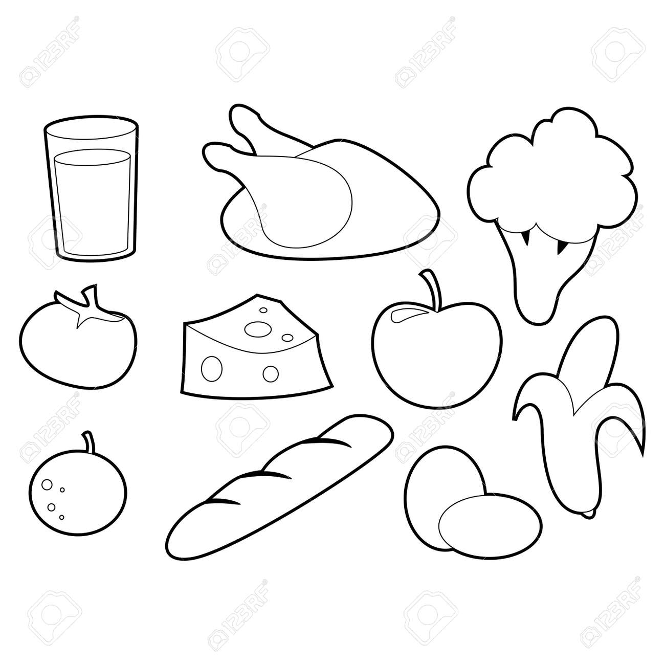 Libro De Colorear Conjunto De Alimentos Lácteos Y Hortalizas ...