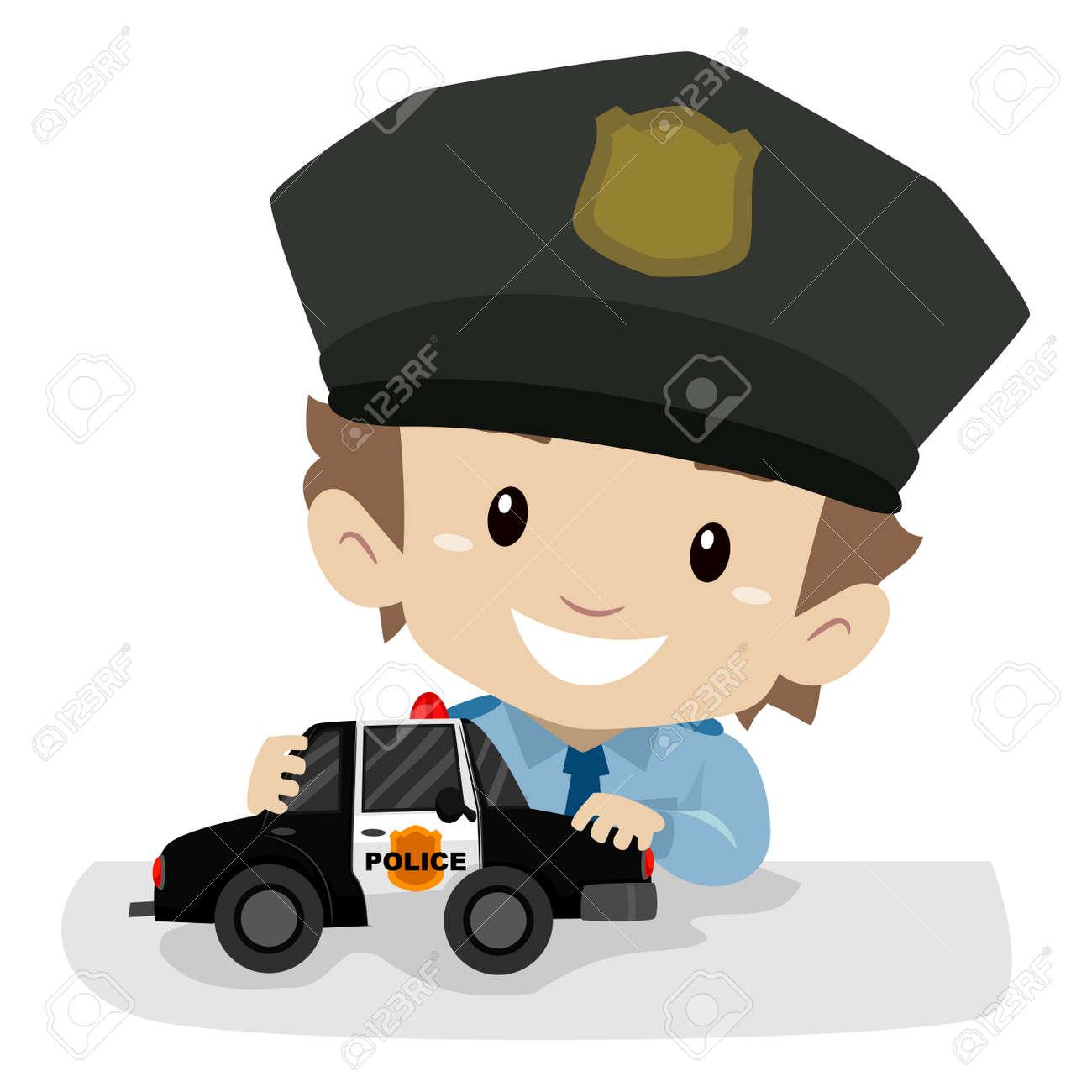 vector illustration of a little boy wearing a police uniform rh 123rf com police victorville police vector art