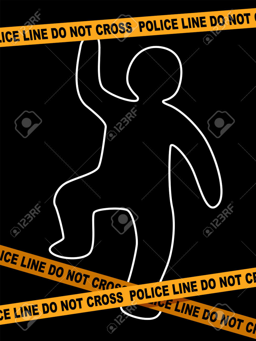 A Vector Illustration of Police Line Crime Scene with dead Body Trace. - 80540934