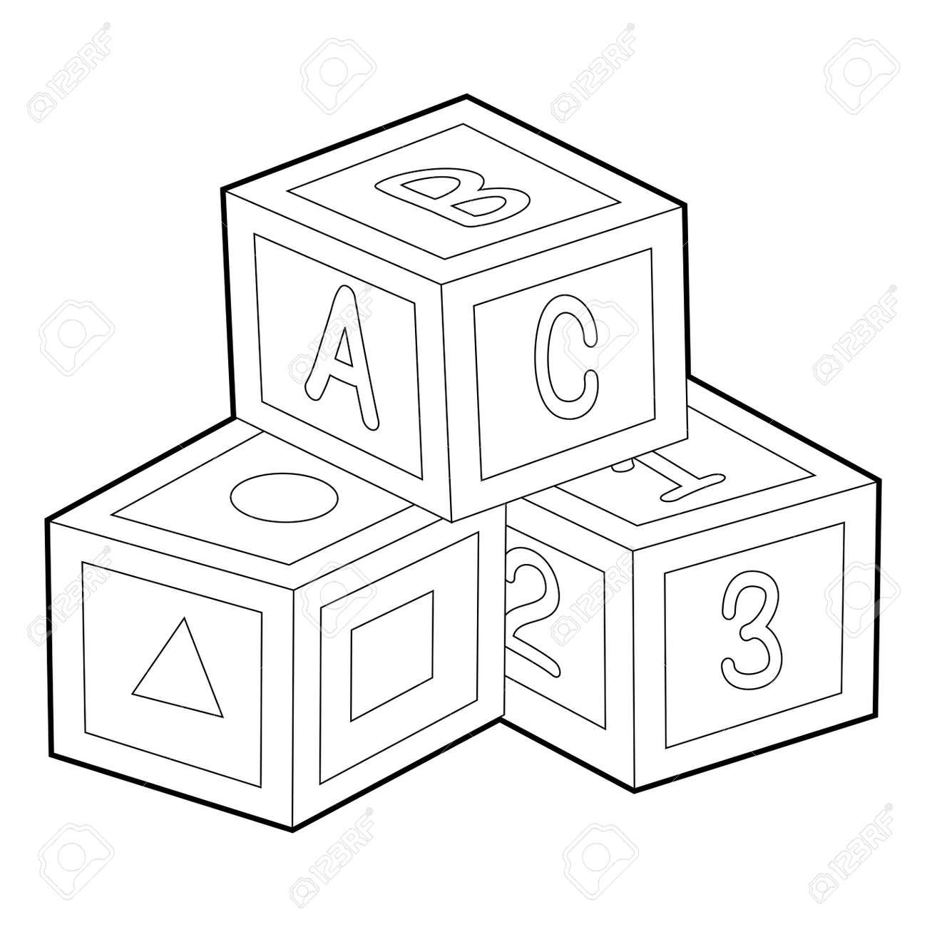 Coloring Book Outline Of Toy Blocks Royalty Free Cliparts Vectors Rh 123rf Com