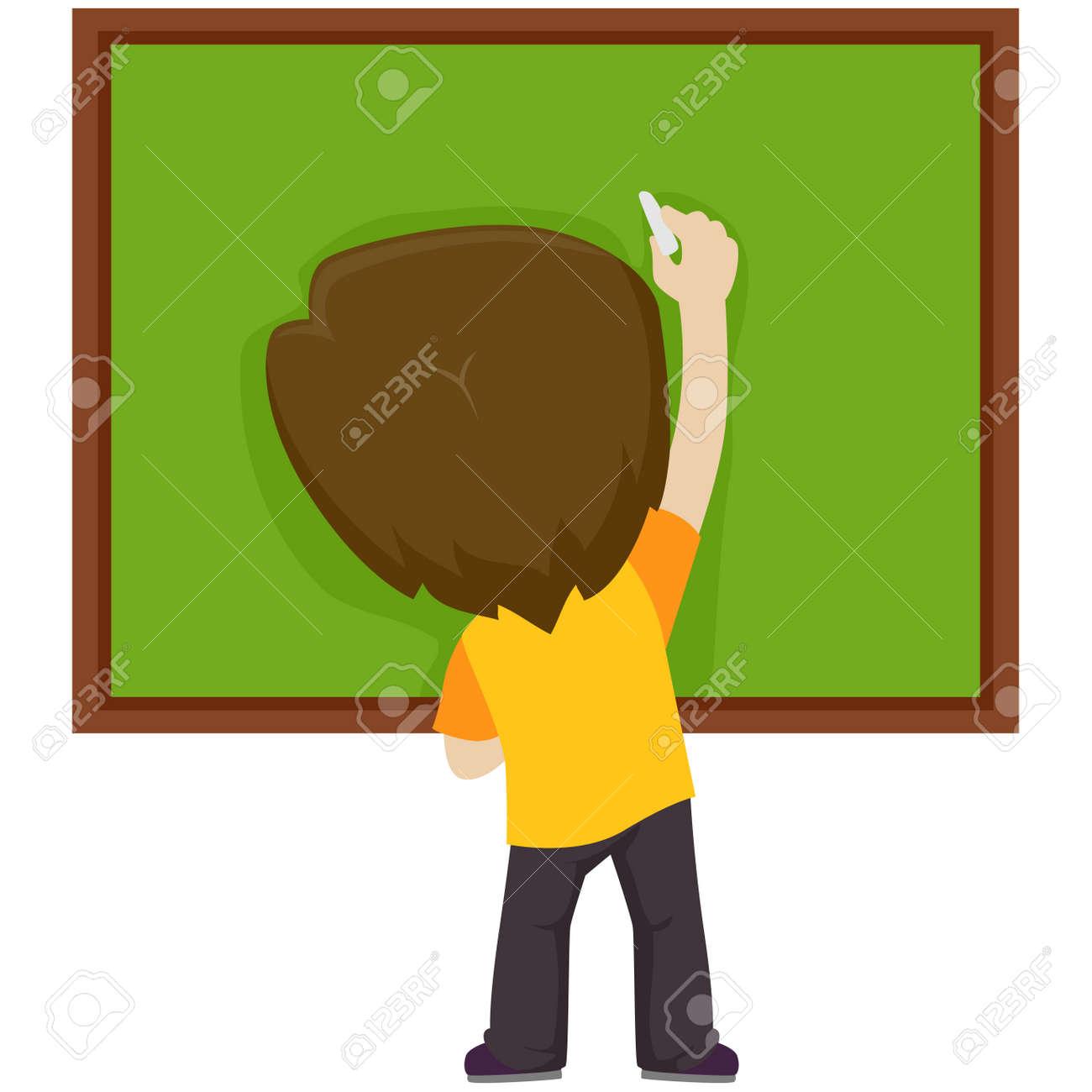 Ilustración De Vector De Un Niño Escribiendo En La Pizarra En Blanco ...