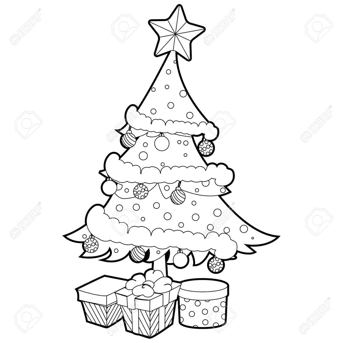 Coloring Book Outlined Christmas Tree With Gift Box. Royalty Free ...
