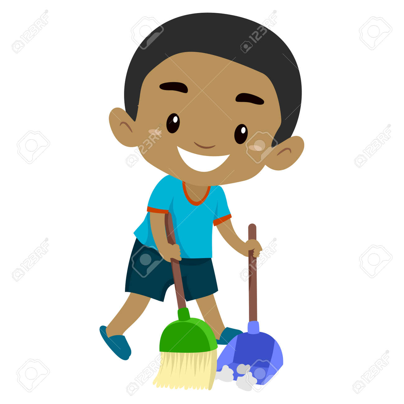 black boy kid sweeping the floor royalty free cliparts vectors and stock illustration image 134481597 black boy kid sweeping the floor