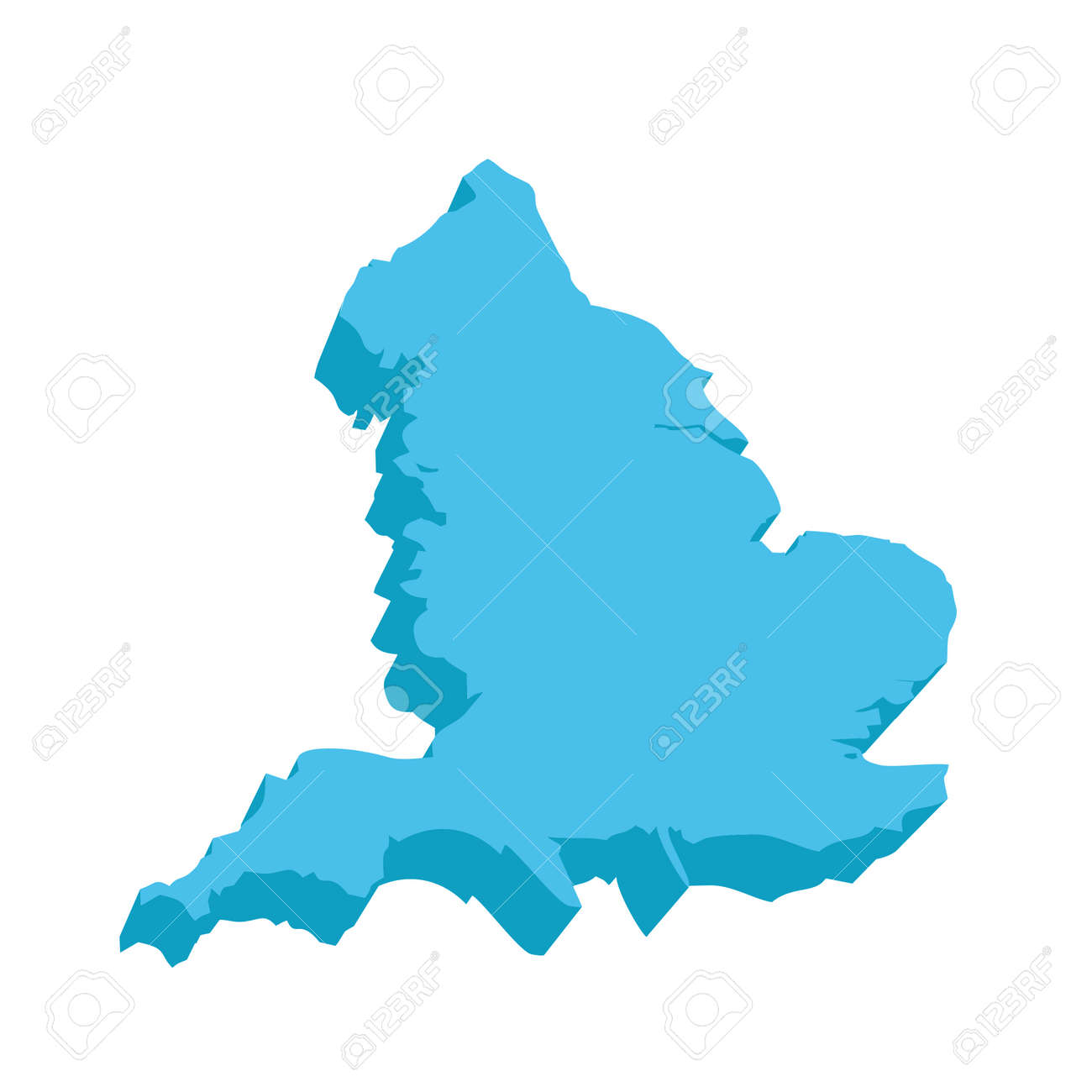 3d Map Of England.A Map Of England 3d On White Background