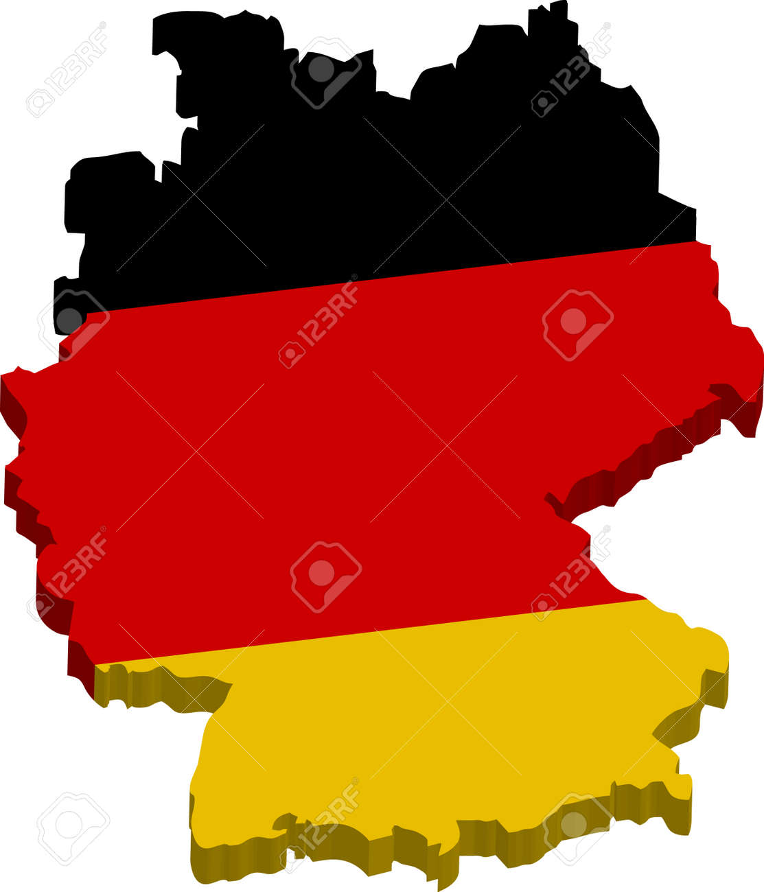 Map Of Germany 3d.A Map Of Germany 3d With Flag On White Baclground Royalty Free