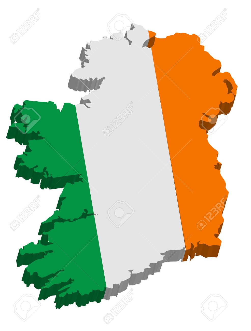 Map Of Ireland 3d.A Map Of Ireland 3d With Flag On White Background