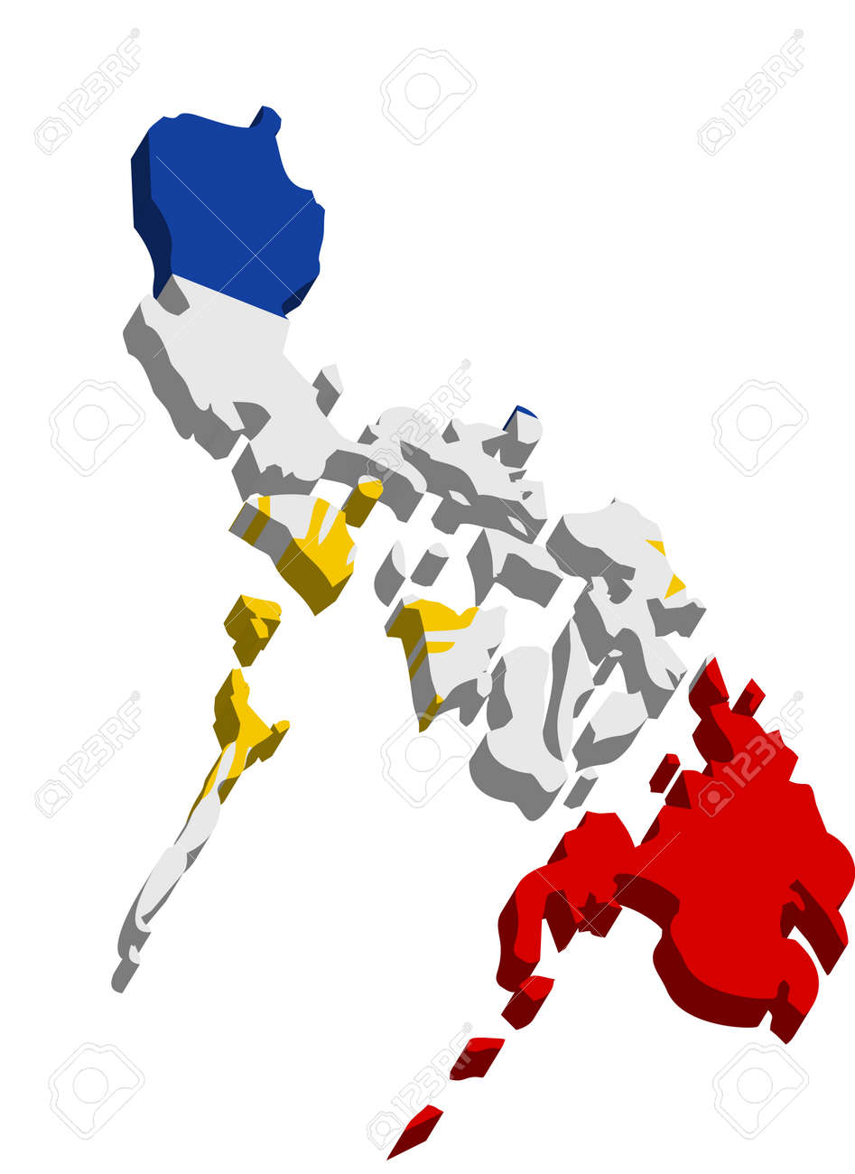 Map Of The Philippines 3D A Map Of Philippines 3D On White Background Royalty Free Cliparts