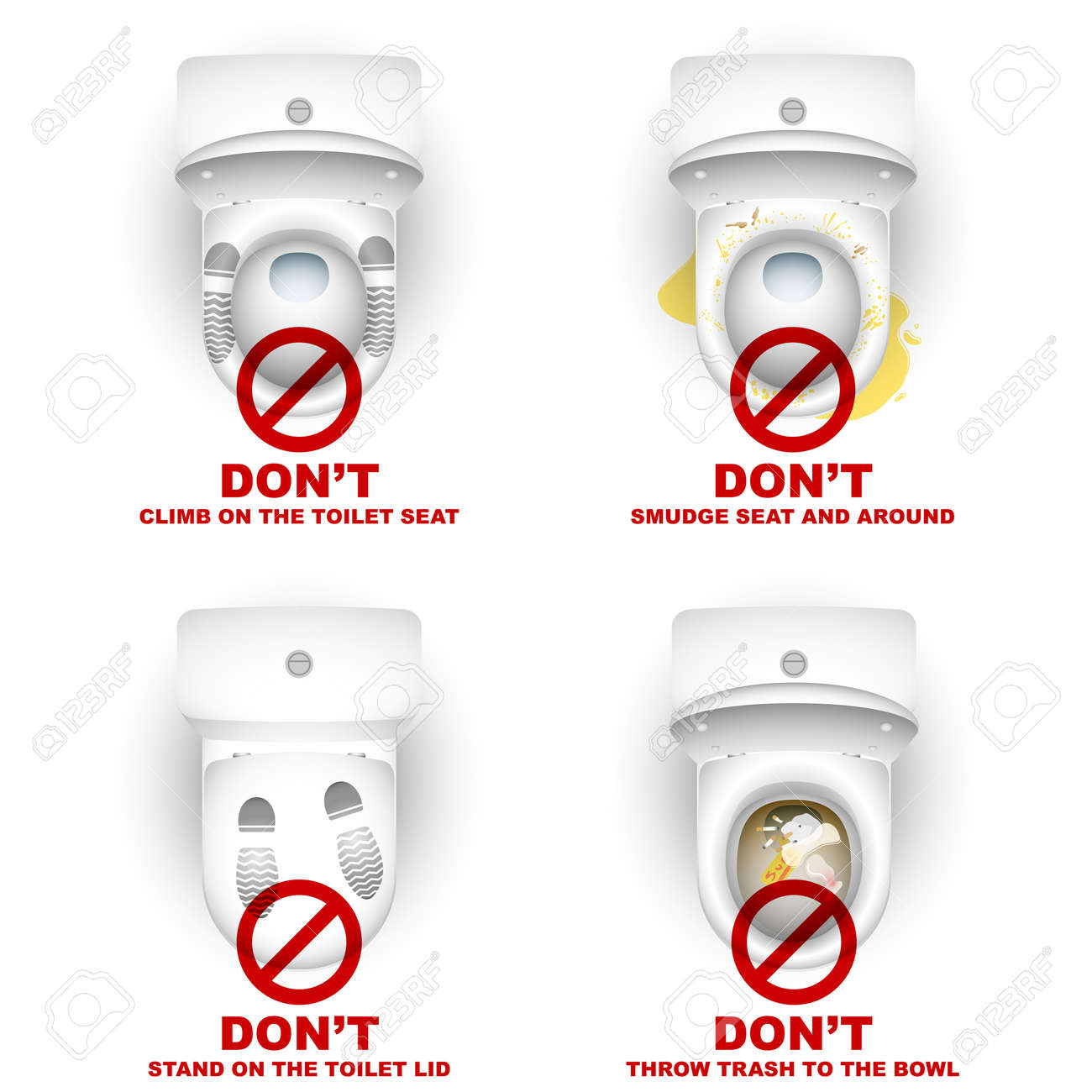 Set of toilet bowls with warning symbols and inscriptions for the rules of use; Do not climb, stand, smudge, throw - 59765615