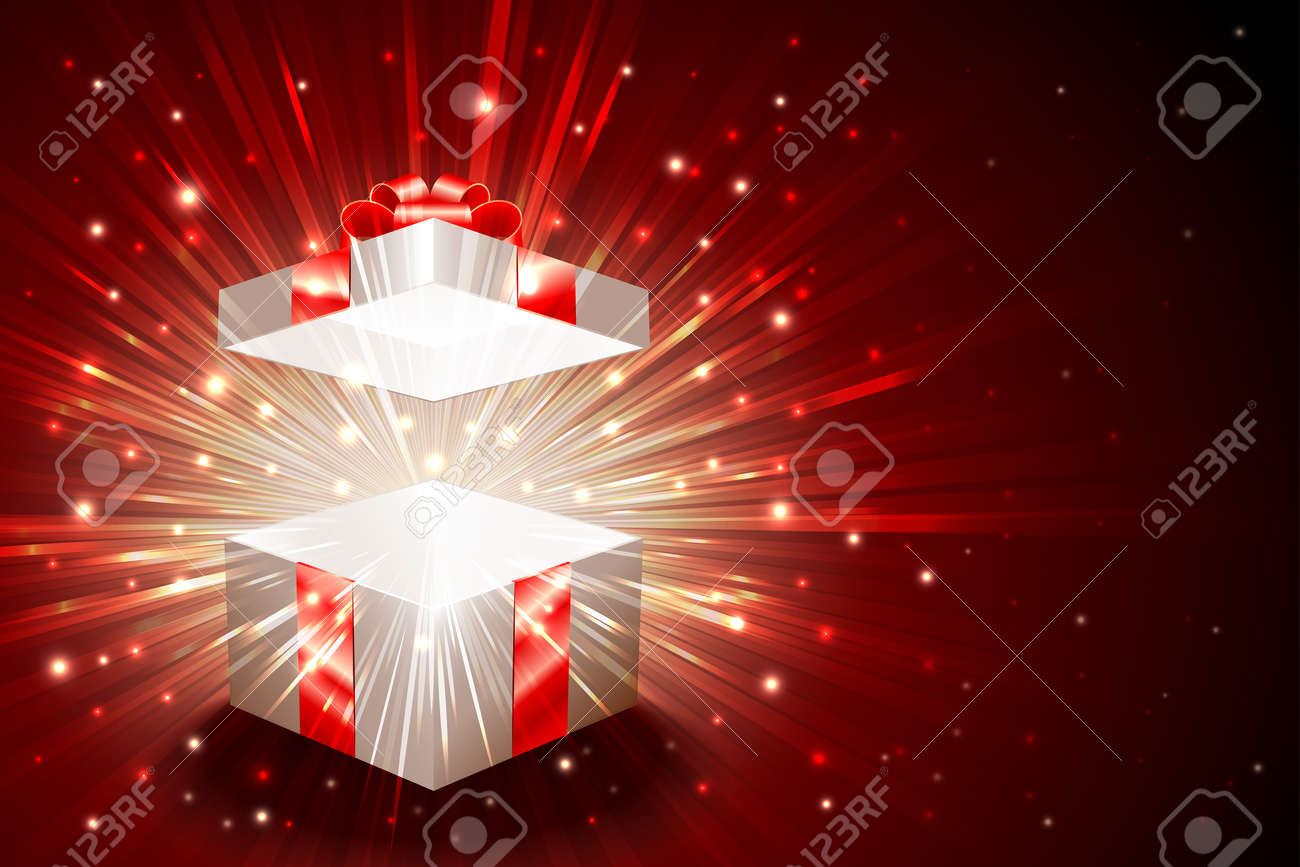 Open Gift Box With Shining Exploding Firework From Glitter For Theme Of Christmas New
