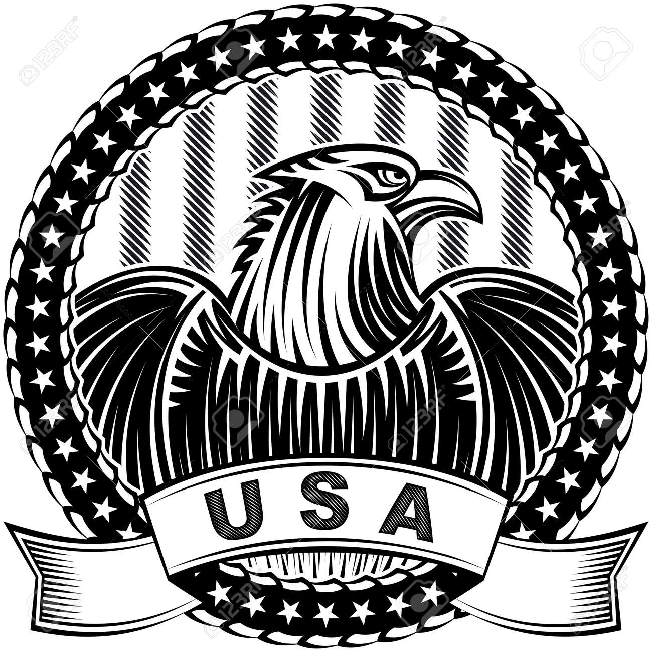 The American Eagle With Stars And Stripes As A Symbol Of Independence Day