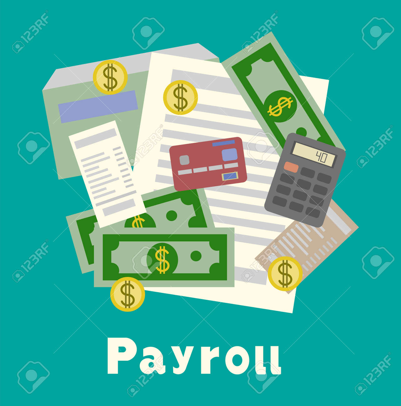 invoice sheet paysheet or payroll icon calculating and budget