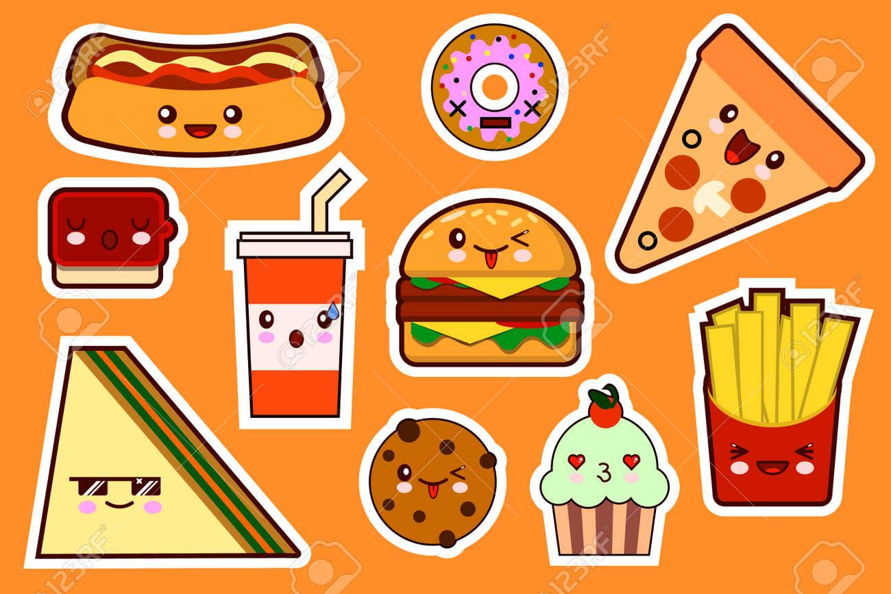 Fastfood Fashion Cartoon Kawaii Stickers Illustrations Icon