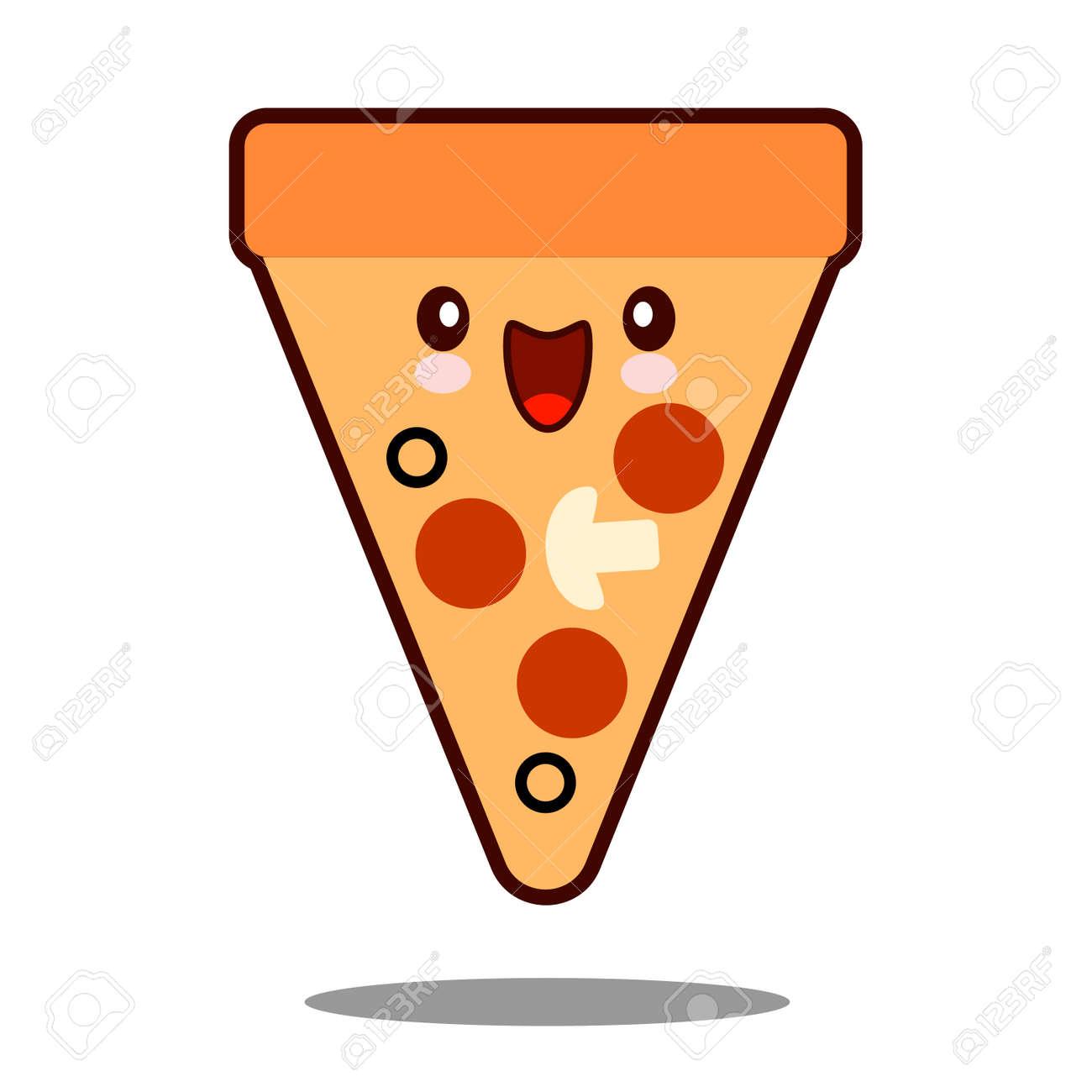 Icono De Personaje De Dibujos Animados De Pizza Comida Rápida Kawaii