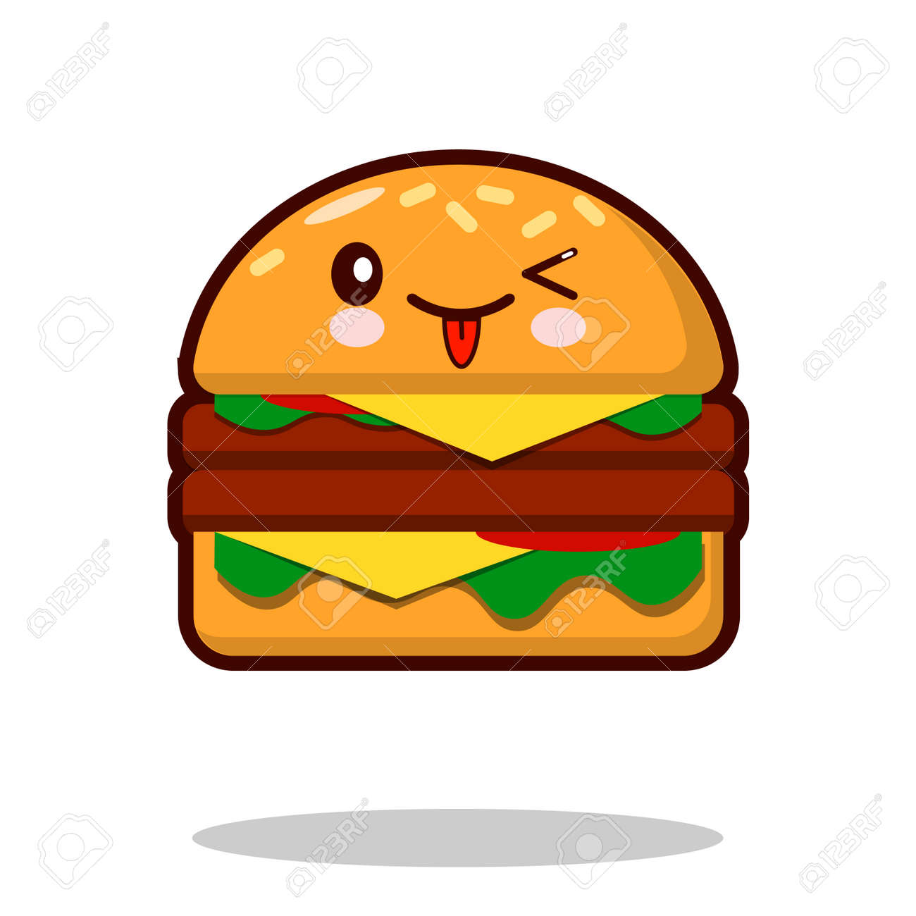 ハンバーガー漫画キャラクター アイコンかわいいファーストフード