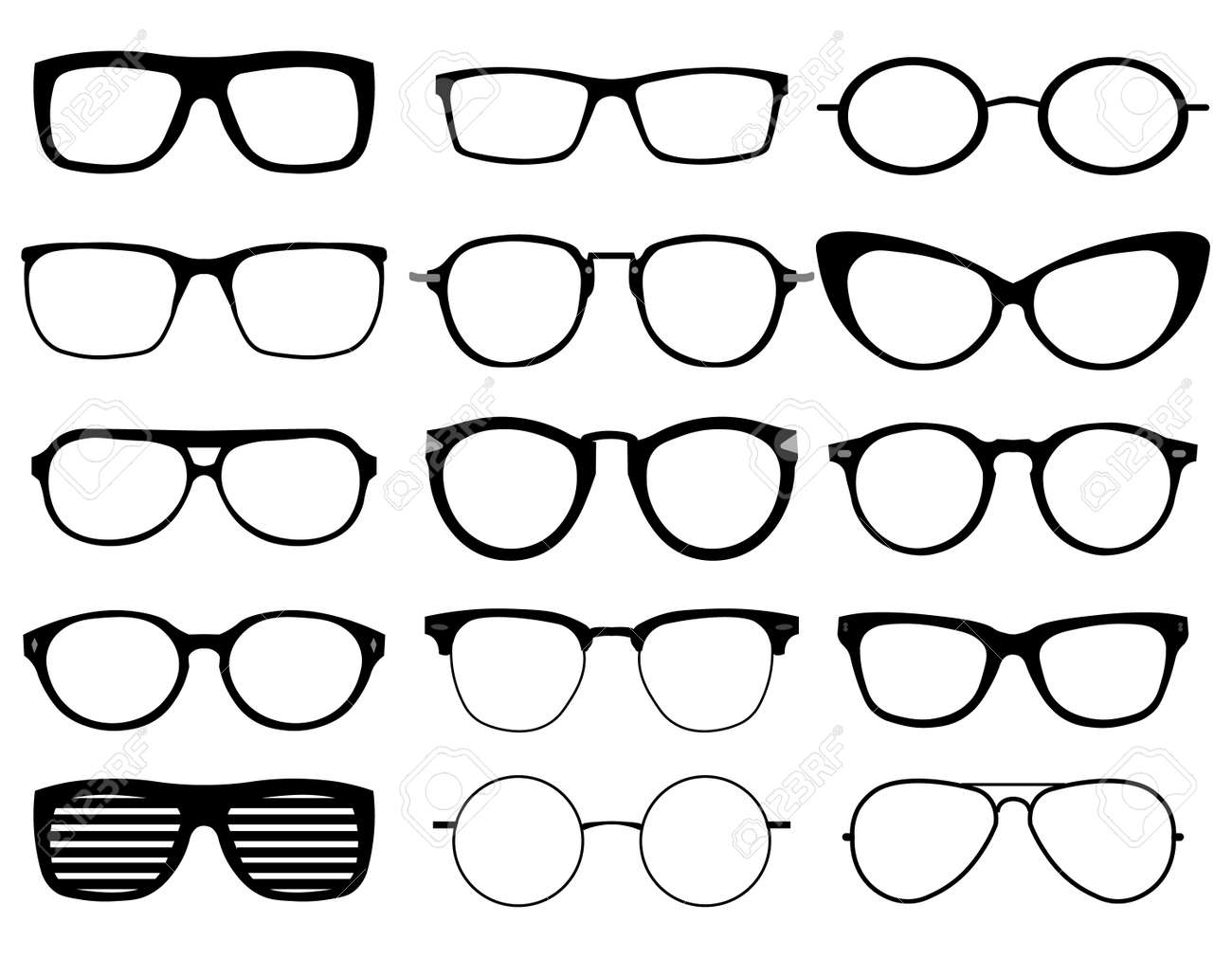 Set Of Custom Glasses Isolated On White Background. Glasses Model ...