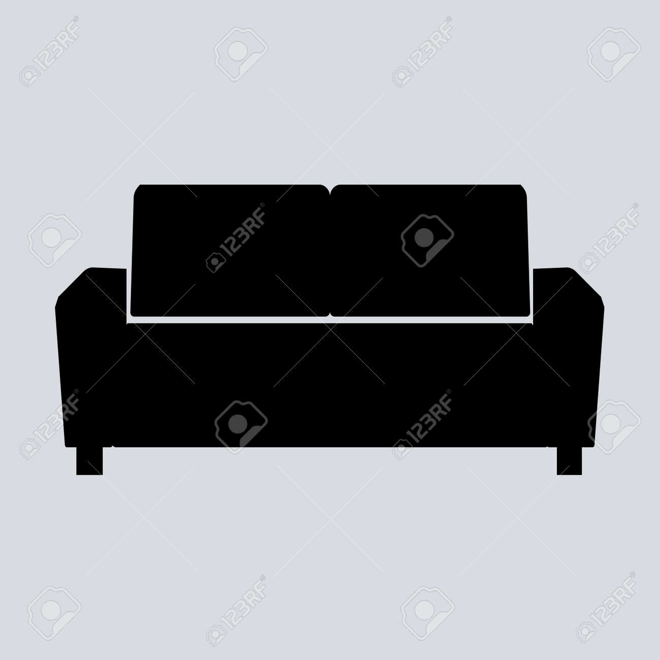 Sofa Vector Illustration Isolated On Gray Background. Soft Sofa Icon. Old  Style Sofa Icon