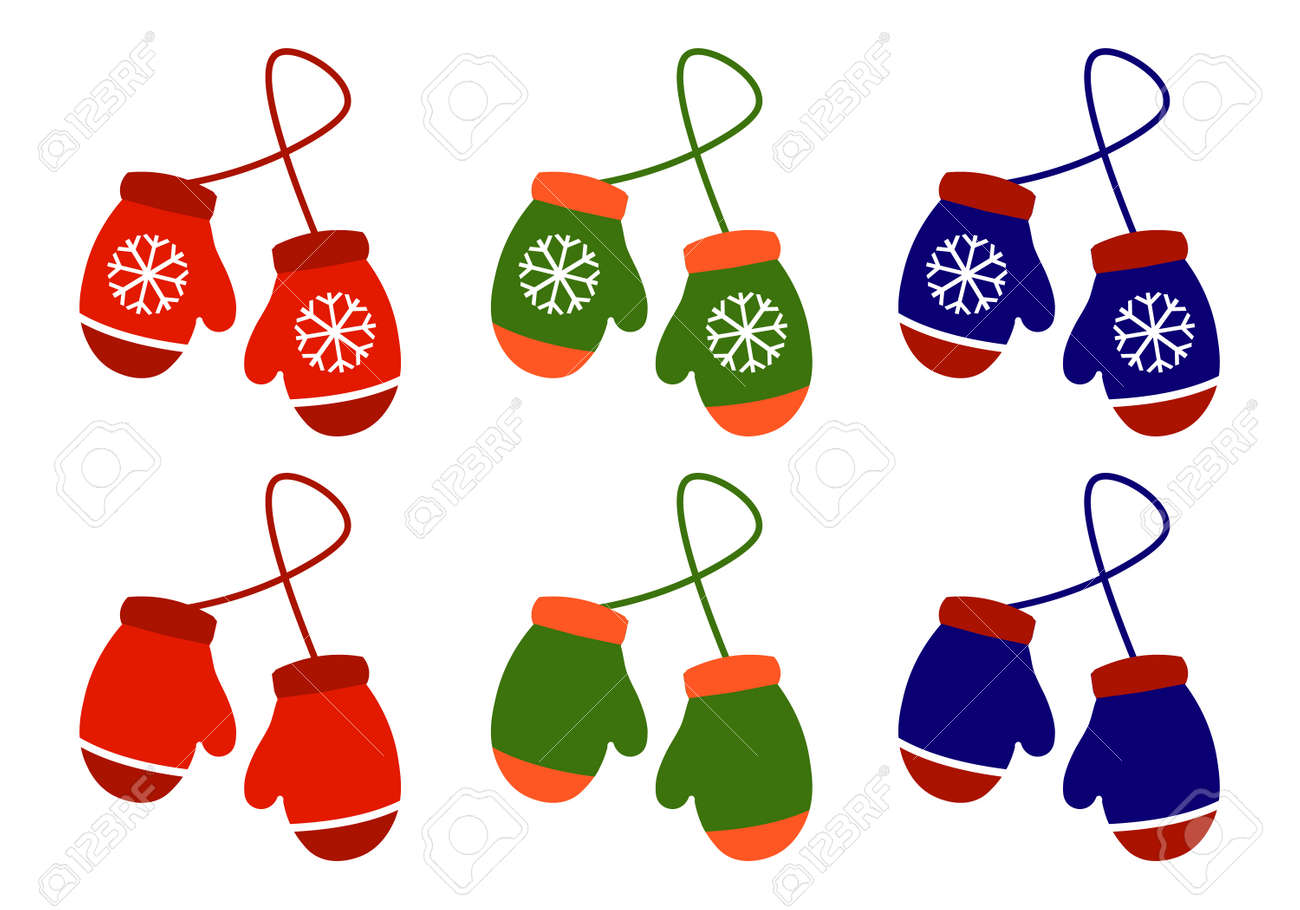 Vector set illustration pair of knitted christmas mittens on white background. - 88749475
