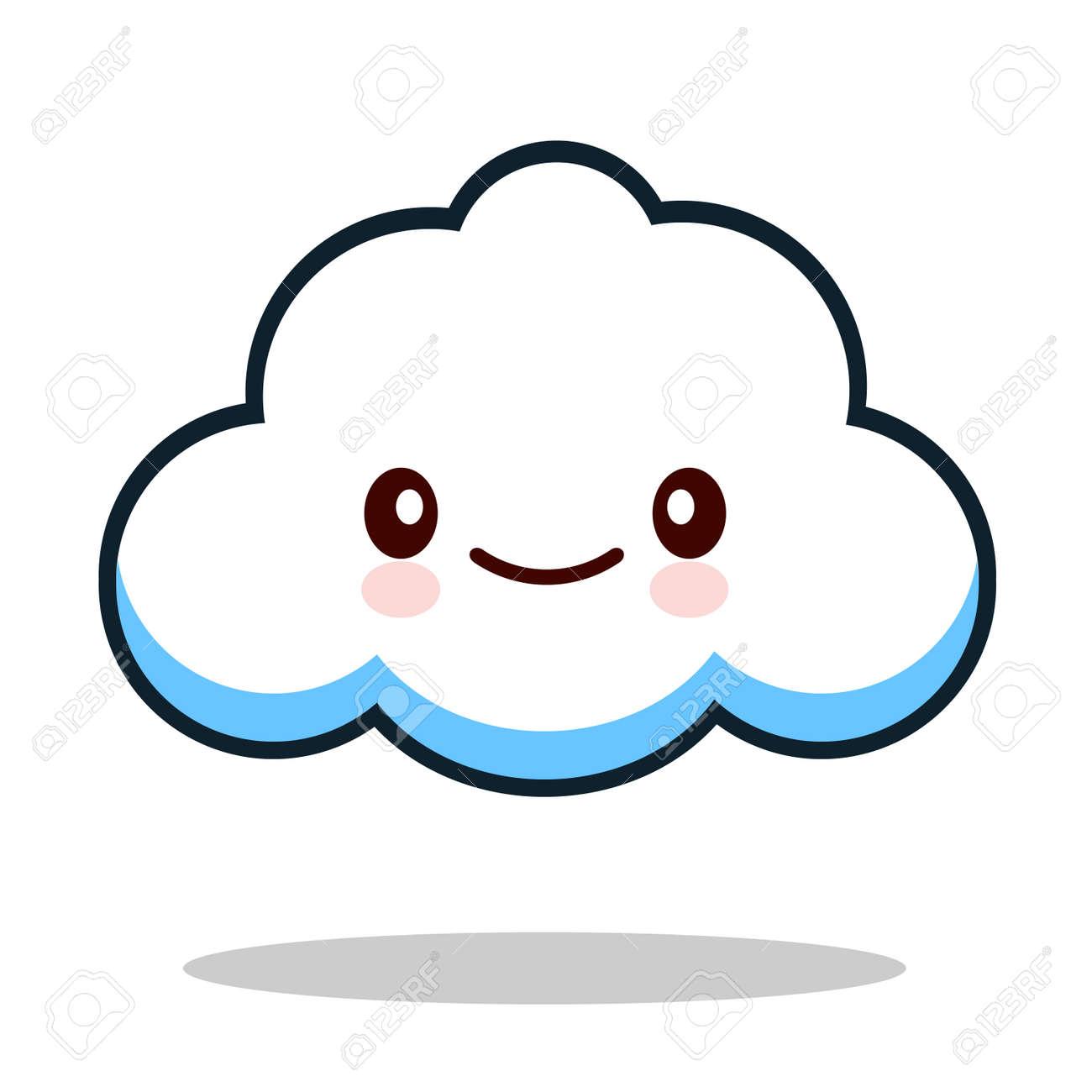 kawaii cartoon white emoticon cute cloud illustration stock photo