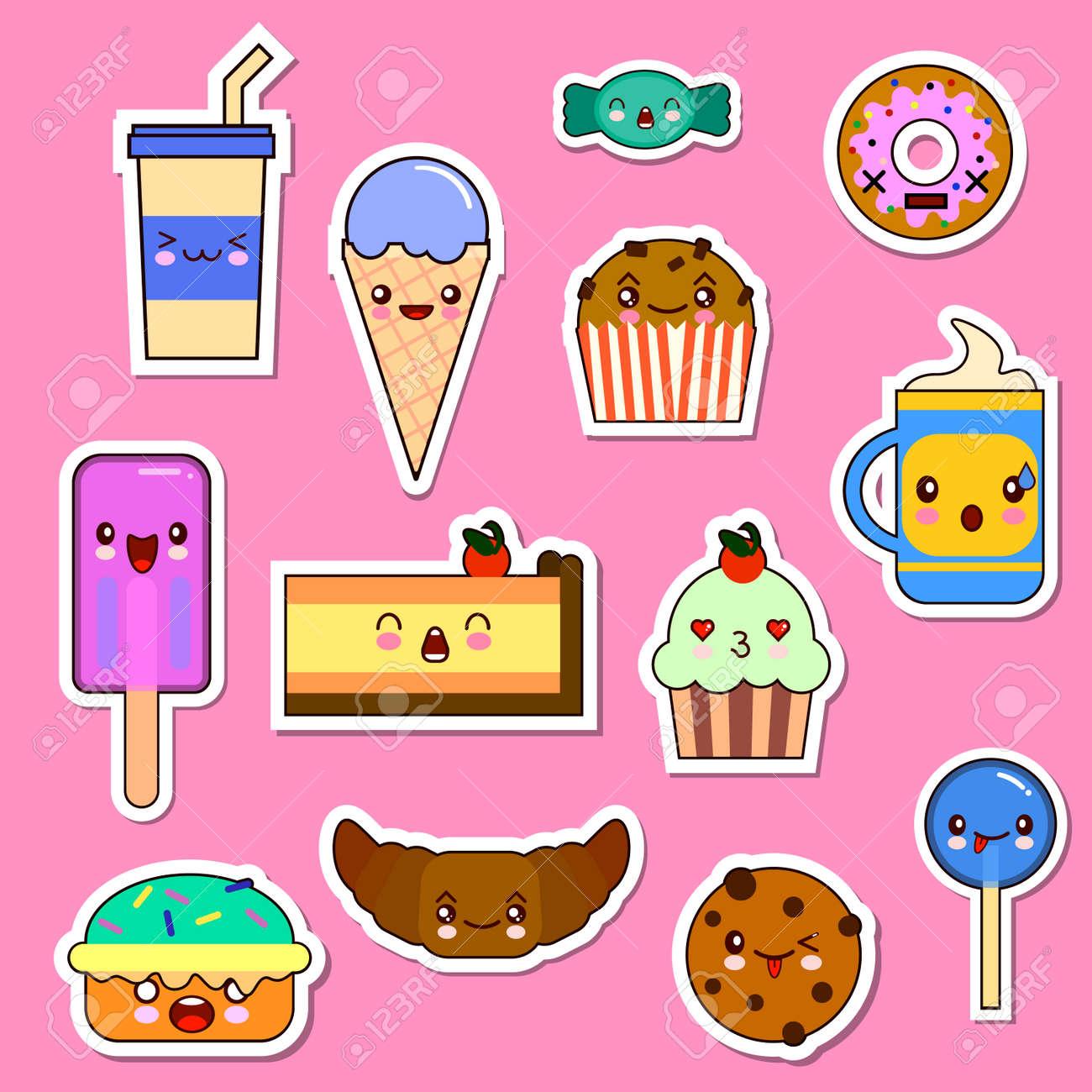Conjunto De Personajes De Comida Kawaii Dulces Y Caramelos