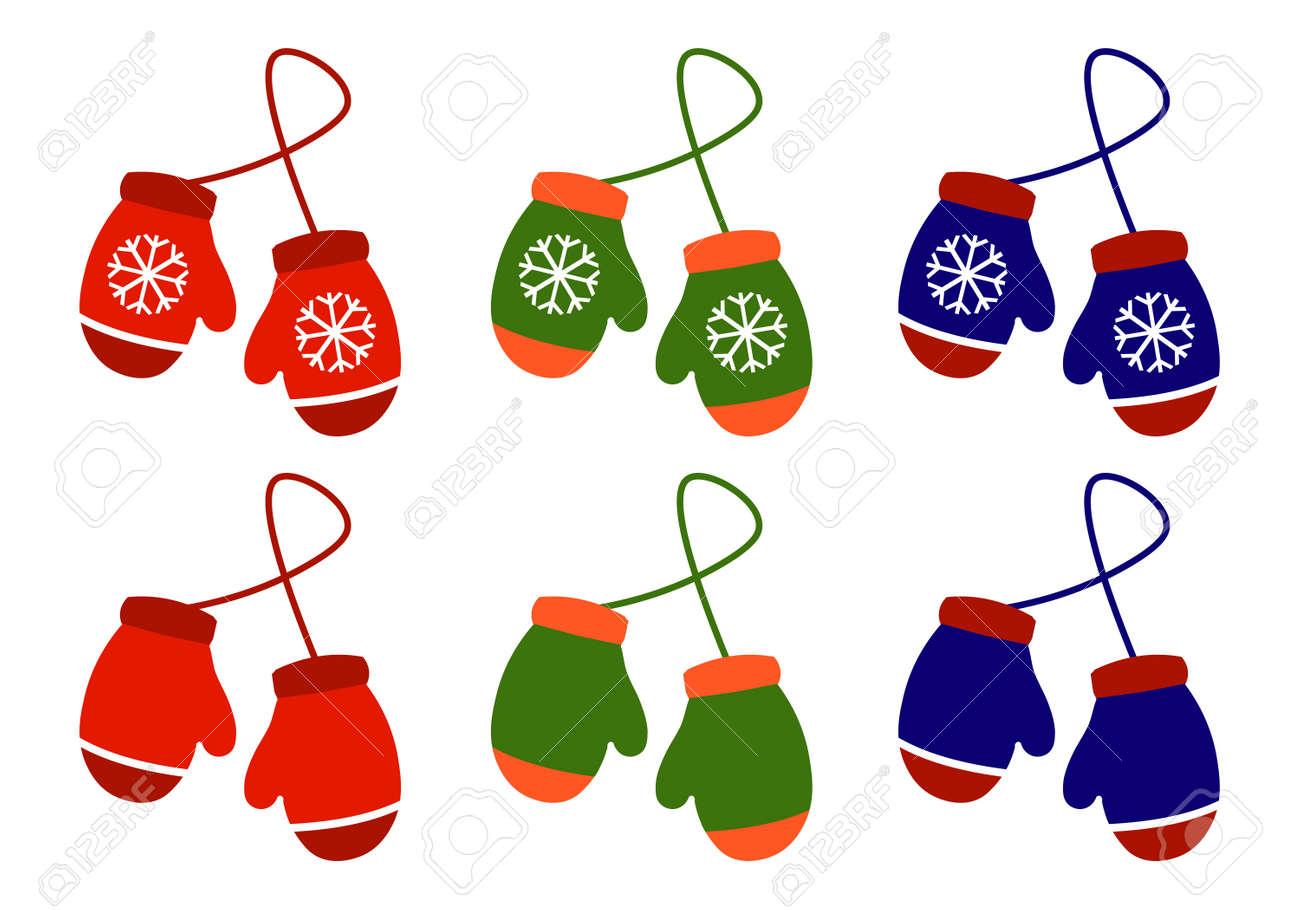 Establecer Par De Ilustración De Mitones De Navidad De Punto En ...