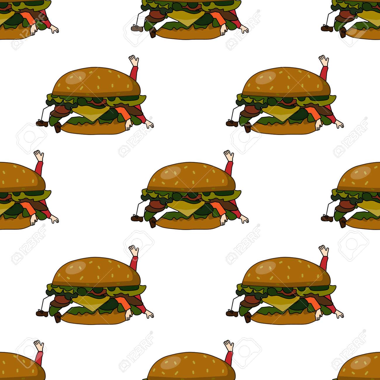 白い背景に不健康な食べ物ハンバーガーとのシームレスなパターン悪い