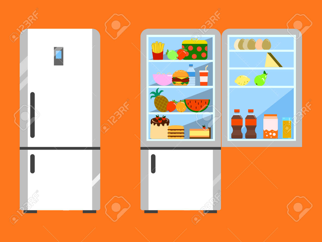 Full Of Food Opened And Close Refrigerator Fridge And Fruit