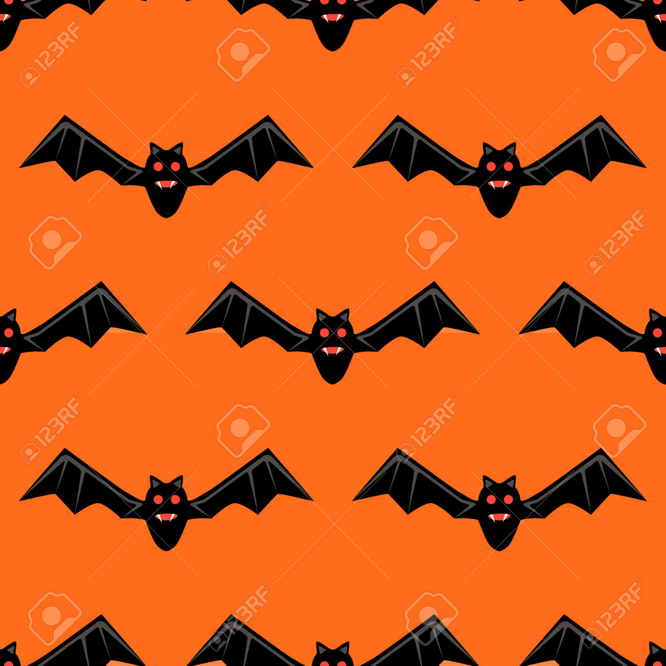 seamless pattern with bats bats isolated on orange background