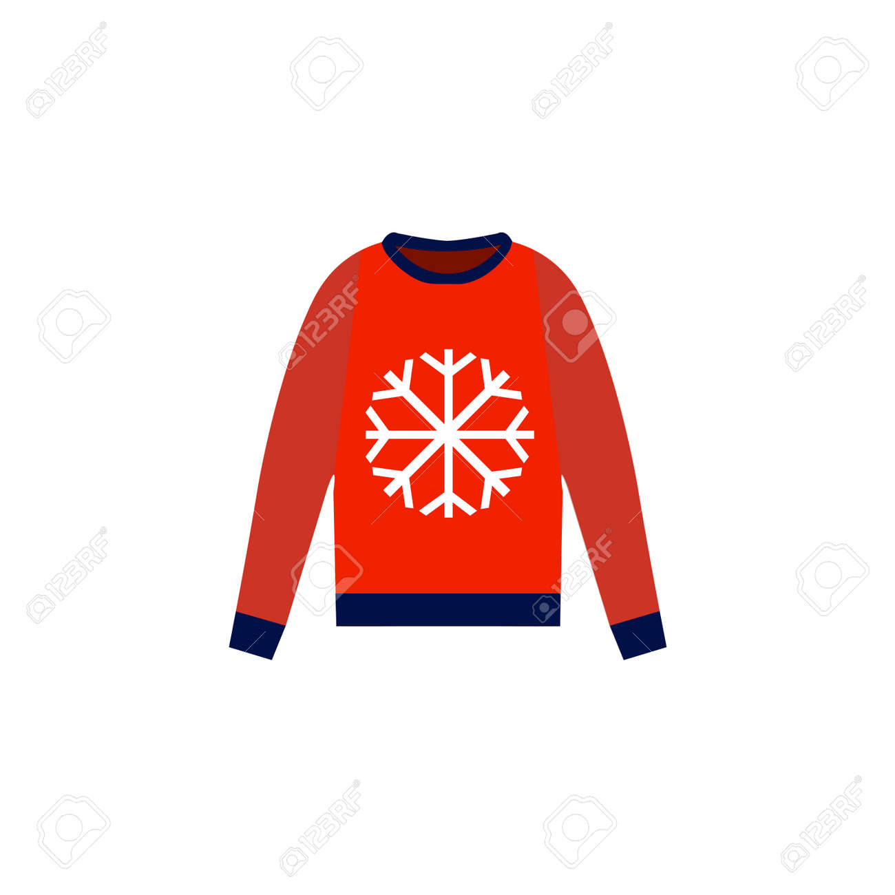 Christmas Jersey Design.Christmas Red Sweater On White Background Flat Design Illustration
