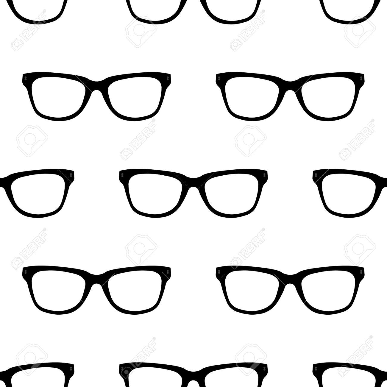 7fd22f02380 Seamless pattern with black Hipster Glasses. Unisex sunglasses texture.  Vector illustration. Black and