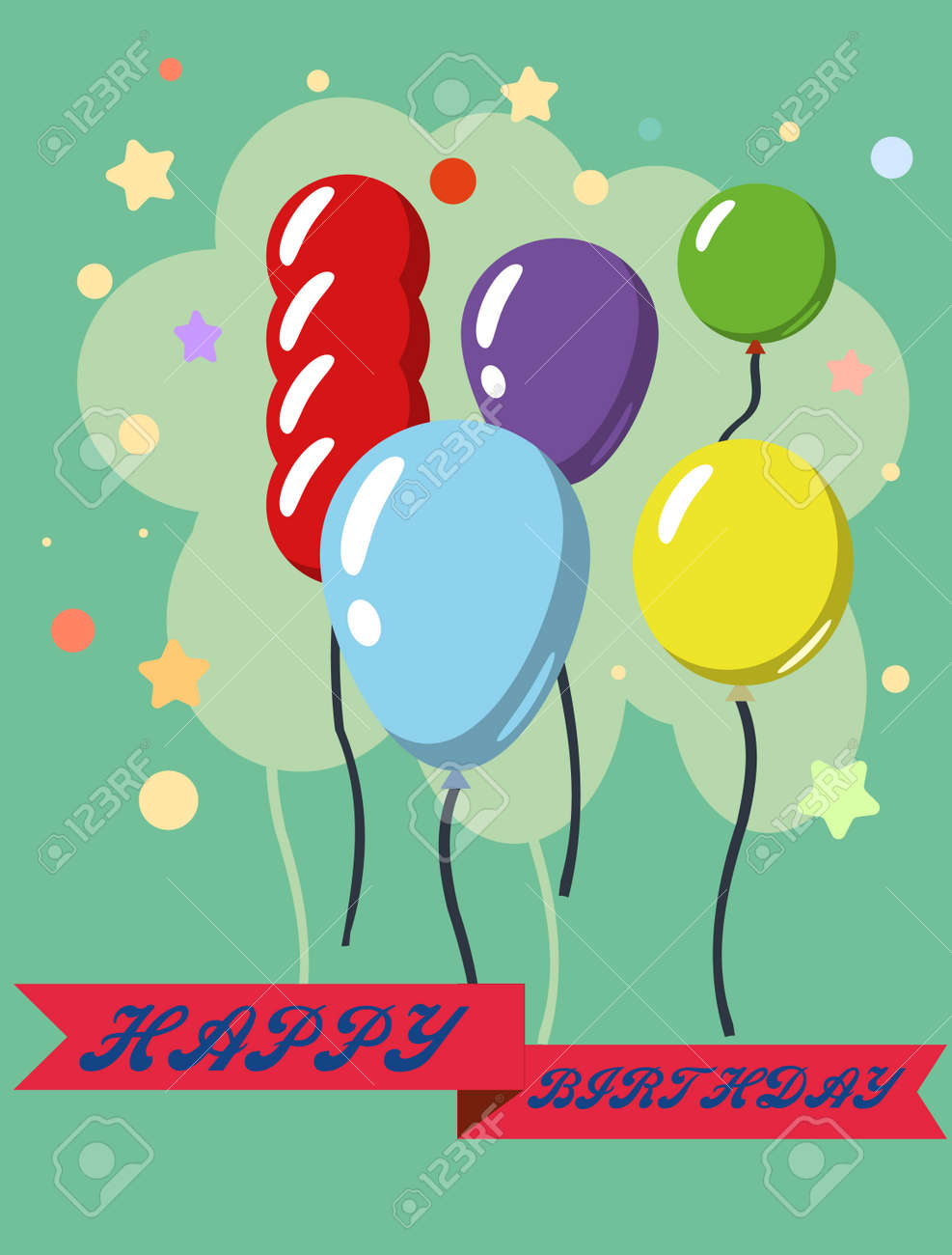 Happy Birthday Vector Design Greeting Cards With Balloon Confetti Template For Celebration