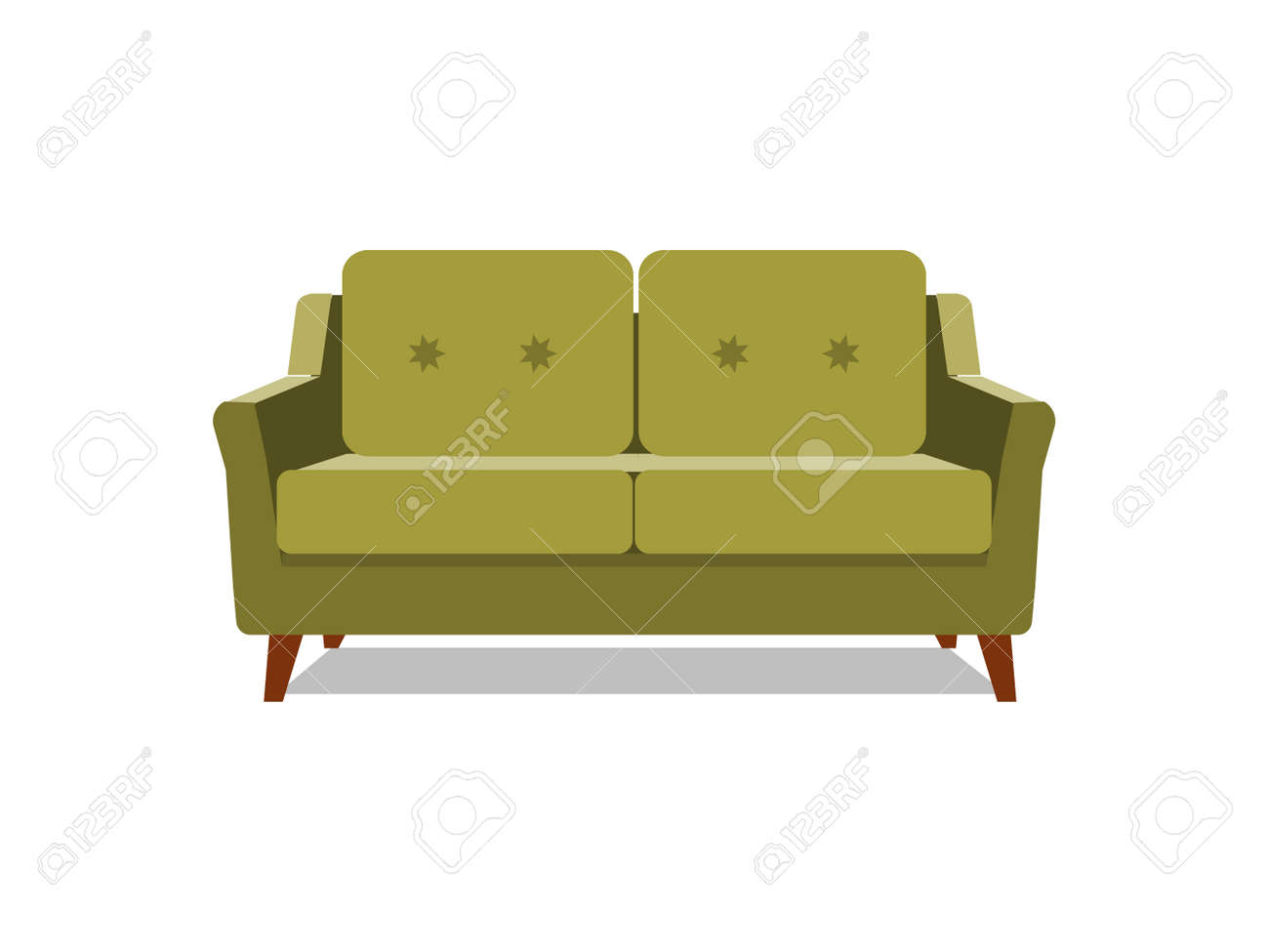 Vector Realistic Green Sofa With On Background Object Of Interior