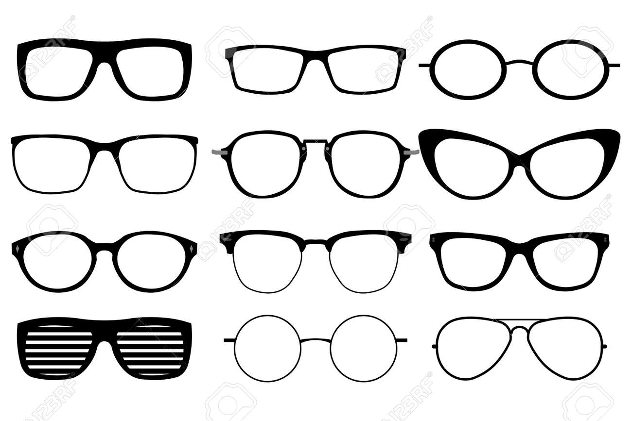 A set of glasses isolated. Vector glasses model icons. - 126343503
