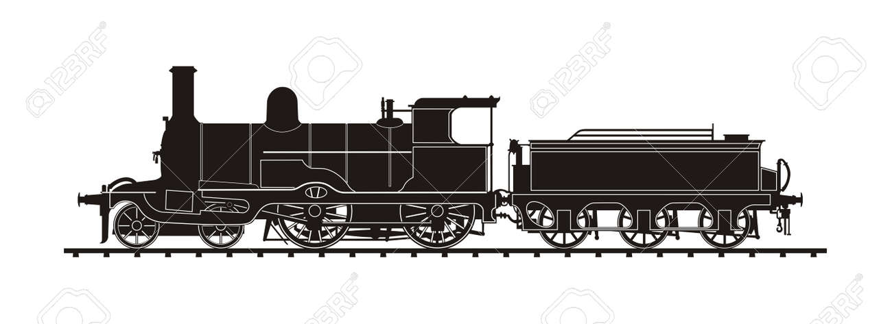 Vintage Train Illustration Vector Silhouette Royalty Free Cliparts