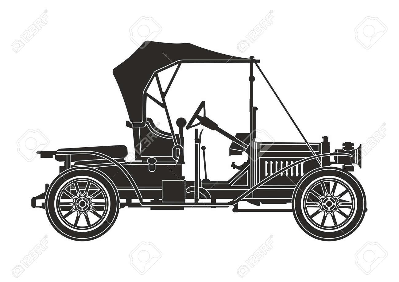 icon retro car black on the white background - 87681713