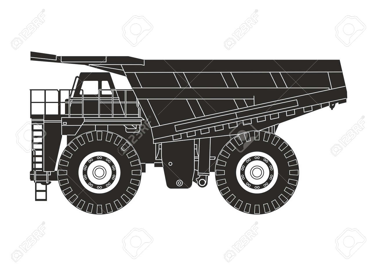 Black dump truck on the white background stock vector 93415268