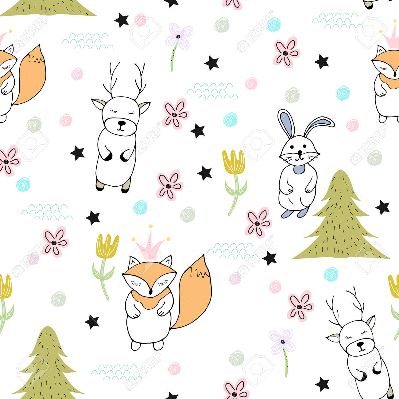 Funny Seamless Pattern With Cute Animals Fox Hare Deer Creative Stock Photo Picture And Royalty Free Image Image 111438975