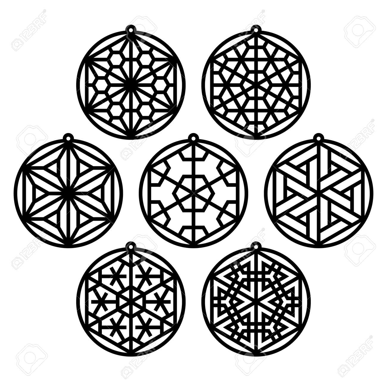 Set of seven traditional Japanese ornaments Kumiko in the form of Christmas balls.Suitable for laser cutting - 121827106