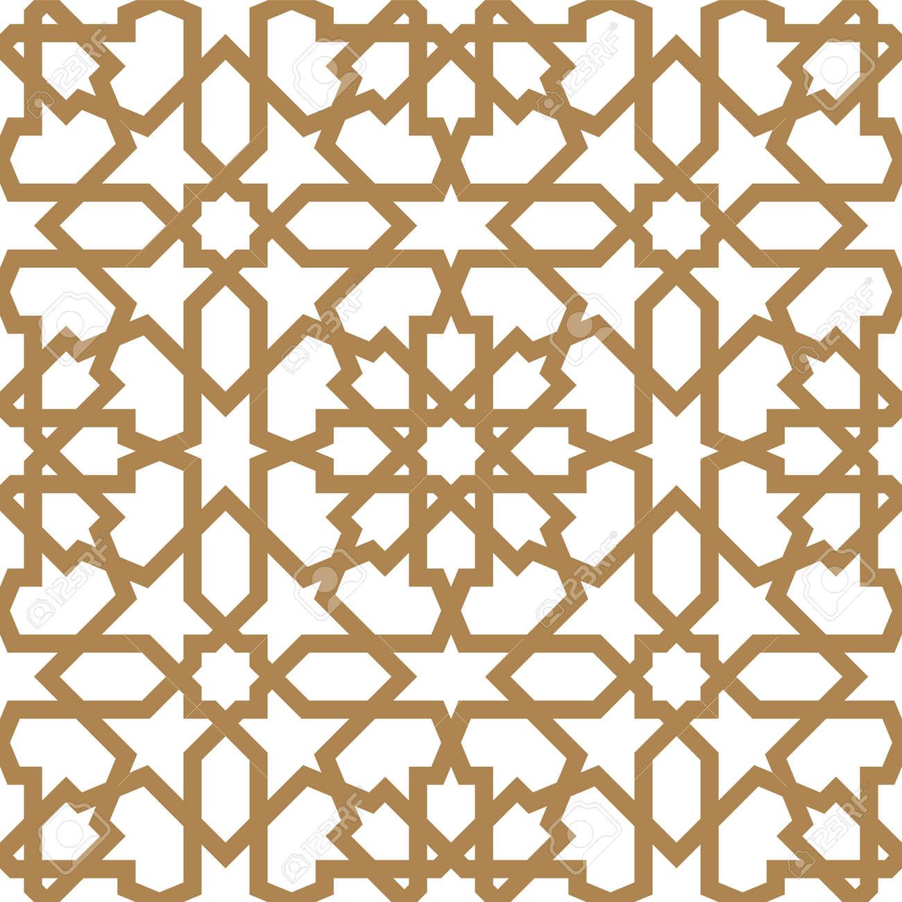 Seamless arabic geometric ornament based on traditional arabic art. Muslim mosaic. Turkish, Arabian tile on a white background made by netting - 107367537