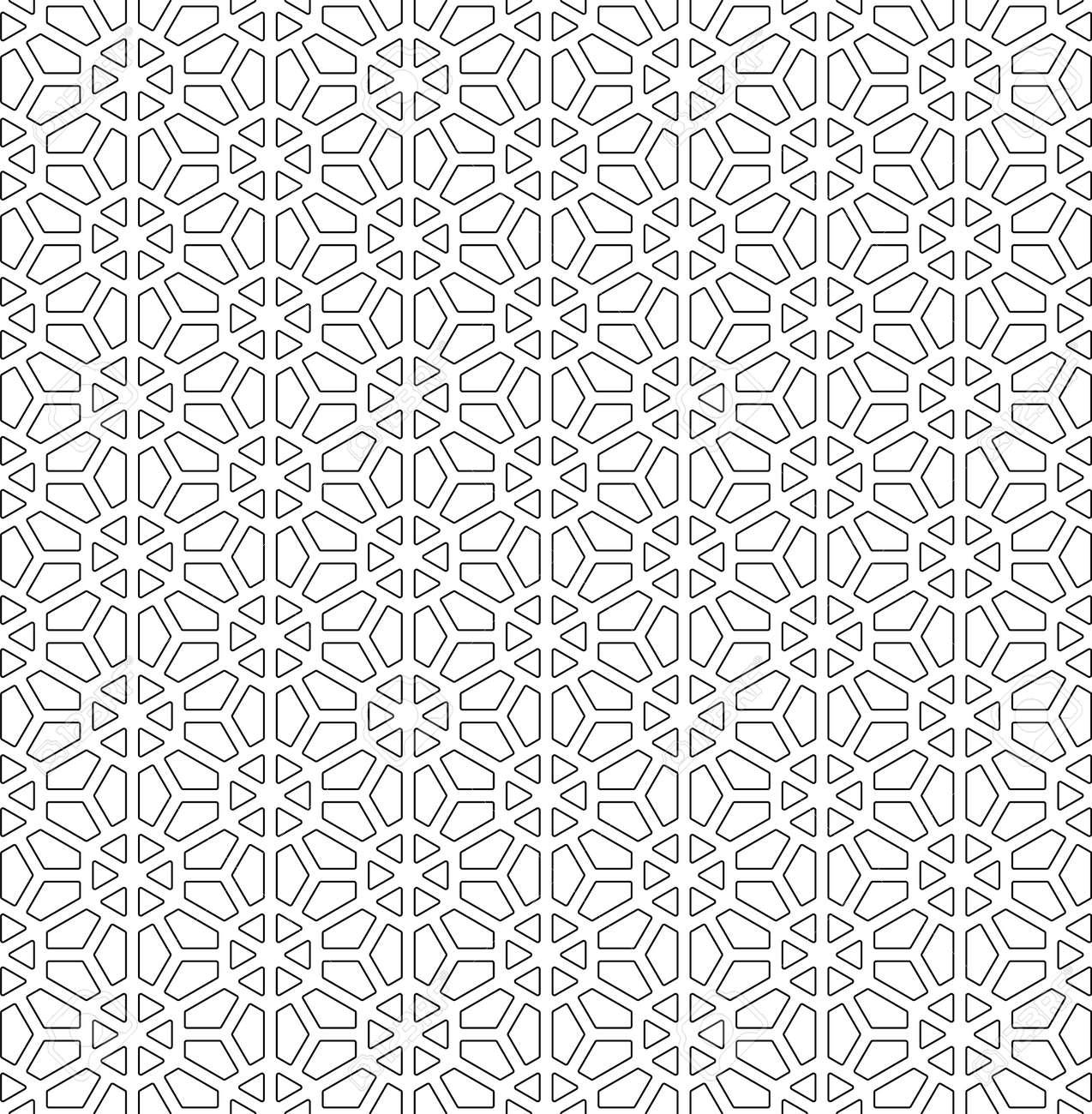 Seamless pattern based on Japanese ornament Kumiko.Black and white.Rounded corners. - 126087549