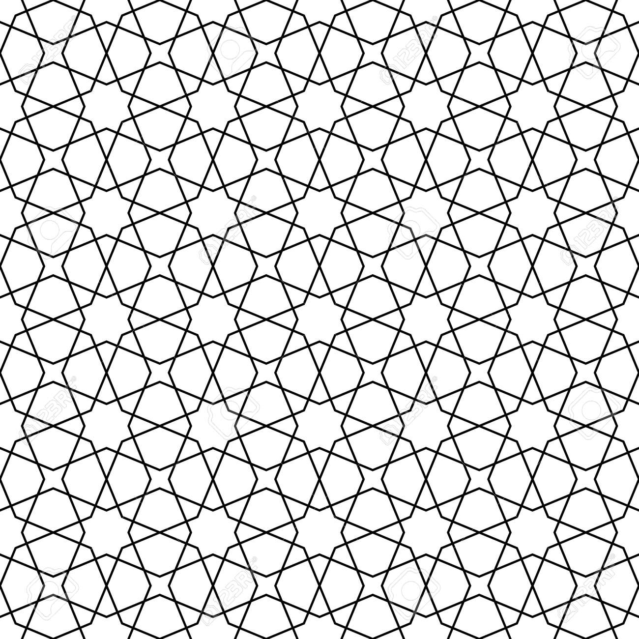 Seamless geometric ornament based on traditional arabic art. Muslim mosaic.Black and white lines.Great design for fabric,textile,cover,wrapping paper,background.Lines of average thickness. - 125416824