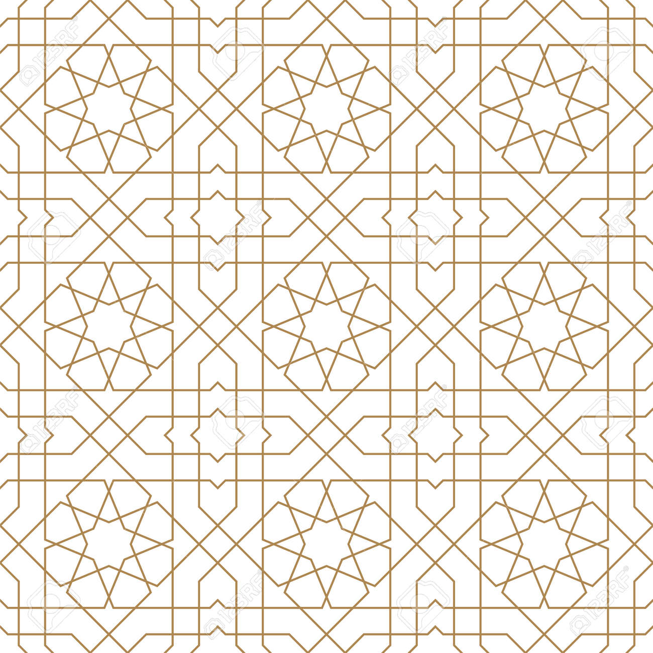 Seamless geometric ornament based on traditional arabic art.Brown color lines.Great design for fabric,textile,cover,wrapping paper,background.Average thickness lines. - 136798308